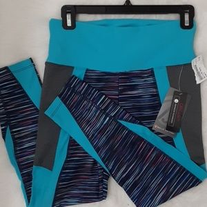 🦋Bally Total Fitness, M, Grey/Aqua Blue/Coral/Bk